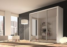 Functional wardrobes with added value: Sliding door wardrobes with mirror Sliding door wardrobes with mirror 3 door wardrobe bergen slider white + 3 mirrors ECSOVFY Mirrored Wardrobe Doors, 3 Door Sliding Wardrobe, Wooden Wardrobe, Sliding Doors, Sliding Door Window Treatments, Bed With Slide, Buy Bed, Hanging Storage