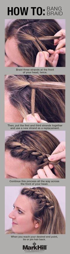 The bang braid is your solution to keeping annoying mid-level bangs off your face. | 18 Ingenious Hair Hacks For The Gym
