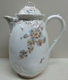 Antique Teapot, Large Coffee Pot, Chocolate Pot, Bavarian China