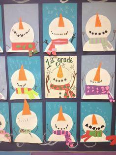 Melanie Lupien Art Class: 1st Grade snowmen winter art lesson. http://thecolorfulartpalette.blogspot.com/
