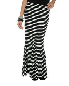 Pieced Stripe Maxi Skirt from WetSeal.com