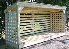 """These custom wood sheds feature a high-drying capacity. Each custom wood shed is built in place, a bit off the ground (the """"Breathable Below"""" feature), to allow ventilation from underneath the shed as well as from all sides. Backyard Sheds, Fire Pit Backyard, Backyard Landscaping, Wood Storage Sheds, Outdoor Storage Sheds, Firewood Shed, Firewood Storage, Log Shed, Carport Sheds"""