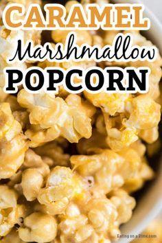 Caramel Popcorn Balls Recipe, Marshmallow Caramel Popcorn, Caramel Corn Recipes, Popcorn Cake, Popcorn Recipes, Chocolate Popcorn, Candy Popcorn, White Chocolate, Recipes With Marshmallows
