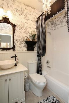 """Vintage #Bathroom with a """"Breakfast At Tiffanys"""" Feel http://www.remodelworks.com/"""