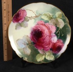 L55 Antique Lot 2 Haviland Hand Painted Limoges Red Pink Roses Plates