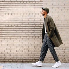 Saturday gent pinstripe trousers coat street white sneakers hipster cool