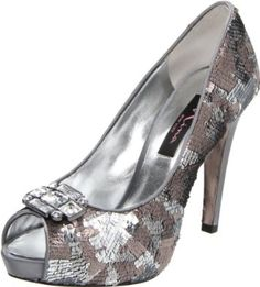 The Evan Pump in mixed sequin pewter/mocha by Nina Collection now in stock at Mirella's Ladies Boutique ~ Burlington