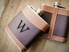 Monogrammed Flask Leather Flasks Custom Flask by EngraveMeThis