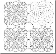 Crochet Stitches Chart, Crochet Symbols, Crochet Diagram, Crochet Motif, Crochet Doilies, Crochet Wool, Crochet Blocks, Crochet Squares, Thread Crochet