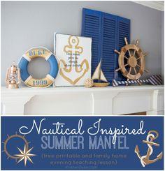 Nautical Inspired Summer Mantel: Anchor Art