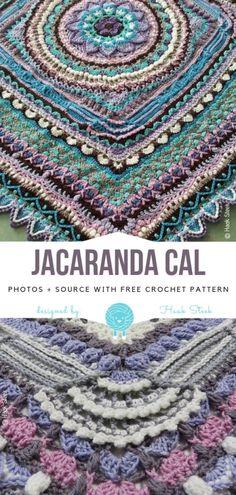 Crochet For Beginners Jacaranda CAL Free Crochet Pattern Crochet Afghans, Crochet Bedspread Pattern, Crochet Diy, Manta Crochet, Crochet Stitches Patterns, Crochet Blankets, Crochet Gifts, Motif Mandala Crochet, Granny Square Crochet Pattern