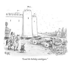 """""""Load the holiday catalogues."""" - New Yorker Cartoon Poster Print by Christopher Weyant at the Condé Nast Collection"""