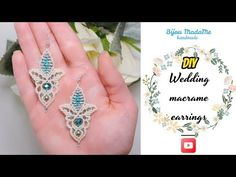 Today I want to show you how to make elegant macrame earrings. For this DIY wedding macrame earrings idea, you will need: - white waxed po. Macrame Necklace, Macrame Jewelry, Diy Jewelry, Crystal Earrings, Beaded Earrings, Crystal Beads, Earring Tutorial, Bracelet Tutorial, Tatting Jewelry