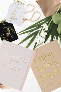 WowWordZ Birthday Cards and Gift Tags Gold and rose gold foil. Foil stamped and foil embossed. In my WowwordZ shop! Letterpress Business Cards, Letterpress Printing, Tag Design, Design Ideas, Stamp Printing, Embossed Cards, Rose Gold Foil, Foil Stamping, Typography Design