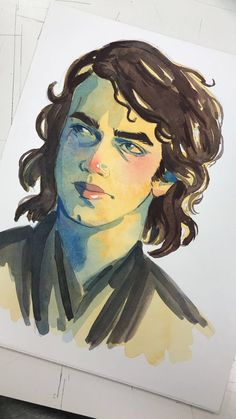 watercolor of my best boy i did for class! by anitheas Anakin Darth Vader, Anakin Skywalker, Star Wars Film, Star Wars Art, Anthology Film, Hayden Christensen, Obi Wan, Live Long, Clone Wars