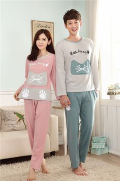 At home cartoon Korean style autumn pajamas a set for men Couple Clothes, Couple Outfits, Cheap Clothes, Couple Pajamas, Fashion Couple, Korean Style, Graphic Sweatshirt, T Shirt, Korean Fashion