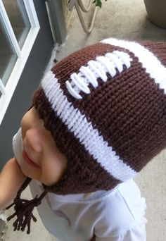 Baby Knitted Football Hat with Ear Flaps by TheOwlTreeKnittingCo, $18.99