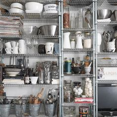 ry using open storage to organise your kitchenware, so it's easy to find everything you need for any recipe. See the rest of Carola's Diy Kitchen Island, Ikea Kitchen, Kitchen Shelves, Open Shelves, Kitchen Ideas, Pantry Room, Kitchen Organization Pantry, Kitchen Organizers, Apartment Kitchen