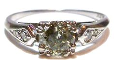 ANTIQUE NOUVEAU 18K WHITE GOLD .50CT SOLITAIRE & TWO SIDES WEDDING RING BAND