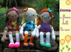 Emma fleece doll pattern by Abby Glassenberg -- completely machine washable Cute Baby Gifts, Thing 1, Pdf Sewing Patterns, Fleece Patterns, Softies, Plushies, Beautiful Dolls, Sewing Projects, Sewing Ideas