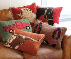 love the black, red, and teal blue combo in the boots Farmhouse Wool Pillows