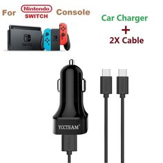 For Nintendo Switch High Speed Car Charger Adapter-(2X 6.6 FT Cable + 2 Port) #YCCTEAM