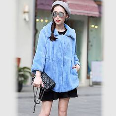 Nerazzurri 2017 New Winter Faux Fur Coat Women Turn-down Collar High Quality Blue Pleated Slim Stylish Fake Rabbit Fur Jacket
