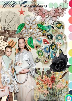 """Trend Orientations © Mirella Bruno Textile Print Trend Colour Designs 2016. """"Wild Carnations."""" SS/18……Propagating since July 2016. A 50′s classic palette and iconic vintage Chanel - Travail Gripoix 1930′s jewellery."""