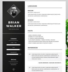 photographer resume cv psd template psd print template pinterest
