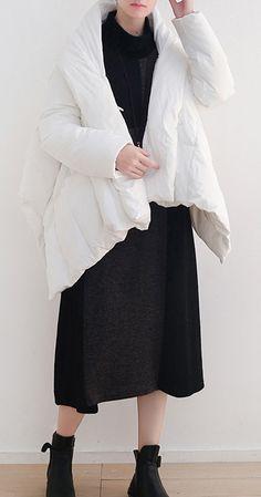 Elegant white warm winter coat plus size stand collar down jacket Dark buckle women coats