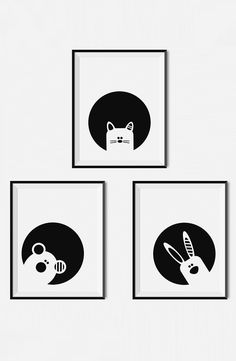 Black and white nursery and kids room decor, Animal prints - Cat, Bear and Bunny wall art printable, Monochrome nursery art, Monochrome nursery decor, Modern nursery and kids room prints by Limitation Free