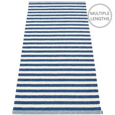Strike bold with Pappelina's denim and vanilla striped Duo rug and add a nautical touch to your room.  The 85 cm wide Pappelina Duo is uniquely woven using an exceptional number of warp threads and comes in two practical lengths.  Pappelina rugs are fantastic for areas with heavy foot traffic. They are woven from soft plastic using traditional Swedish techniques, they are fully reversible and washable, although a quick vacuum is all they will need to keep them looking good as new.