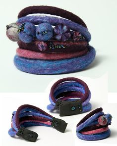 Felted necklace with bracelet in blue purple and pink by Dahrana
