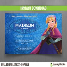 This listing is for a 7x5 in. Disney Frozen Anna Birthday Invitation, set to print TWO per sheet of 8.5 x 11 inches letter size photographic matte paper or cardstock.  ————————————————————————————————— Instantly Downloadable and Editable Text. Don`t wait for customization...