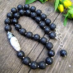 Lava Stone and Chinese Xiu Jade Necklace by Milla's Place, via Flickr