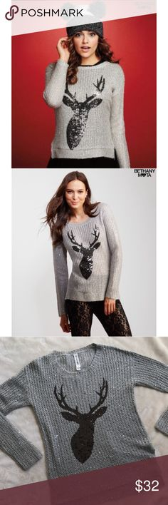 Bethany Mota reindeer sweater Super cute and perfect for fall and winter! A silver sparkle sweater with a black sequin reindeer print. bethany mota Sweaters Cardigans