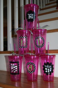 Vinyl Personalized tumbler travel insulated straw by brandiwalk, $10.00