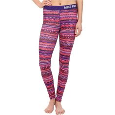 Nike Pro Warm 8 Bit Tights (Light Crimson/Black/Court Purple/White) ($28) ❤ liked on Polyvore featuring activewear, activewear pants, pink, nike sportswear, nike activewear pants, nike and nike activewear