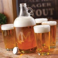 Craft Brew Personalized Growler Set Pint Glasses