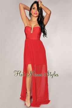 74aab0db473 Red Elastic Top Gold Accent Padded Maxi Dress  54.99 Hot Miami Styles