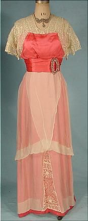c. 1912 Hot Salmon Satin and Off-White Crepe Chiffon and Lace Evening Gown