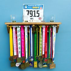 Wooden Medal Hanger Display Stained Wood Made to Order 60cm x 30cm