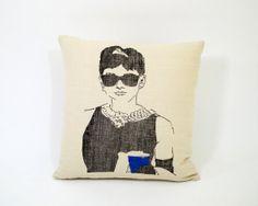 Decorative Throw Pillow, Living Room Pillow, Photography Pillow, 16 x 16 Audrey Hepburn Pillow,  Linen Blend Pillow via Etsy