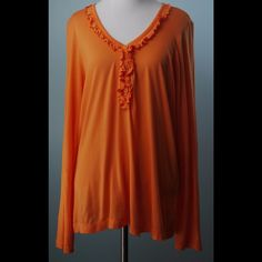 LILLY PULITZER Orange Long Sleeve Knit Top Large LILLY PULITZER Orange Long Sleeve with Ruffle Neck Knit Top Size Large Lilly Pulitzer Tops Blouses