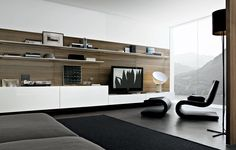 Contemporary TV wall unit - SINTESI by Carlo Colombo - Poliform