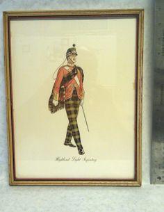Antique Lithograph Scottish Highland Light Infantry Uniform illustrations Print