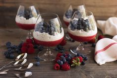Red White and Blue Berry Chia Parfaits @TastyYummies