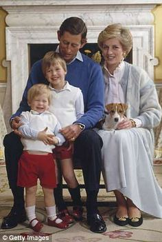 Prince Charles Prince of Wales and Diana Princess of Wales at home in Kensington Palace London with their sons Prince William and Prince Harry.