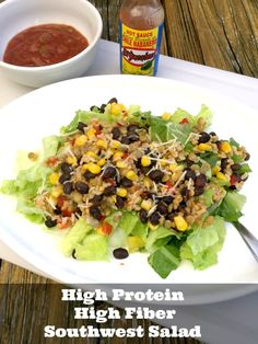 High Protein, High Fiber Southwest Salad - http://www.sofabfood.com/high-protein-high-fiber-southwest-salad/ You need to have this High Protein, High Fiber Southwest Salad on your weekly lunch meal planif you're trying to lose weight and eat healthy in 2016. Consuming foods high in fiber and protein is key when it comes to weight lossand buildinglean muscle mass.  Did you know when it comes to ...