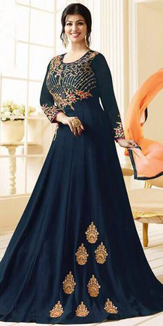 1a86f950ace Ayesha Takia Navy Blue Georgette Anarkali Suit.